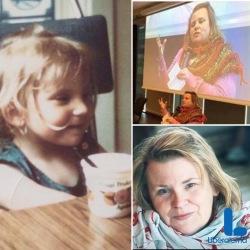 Tre fotom av Maria i olika åldrar, som barn med en yoghurtbägare, hållande ett tal, kampanjbild med L-logga.